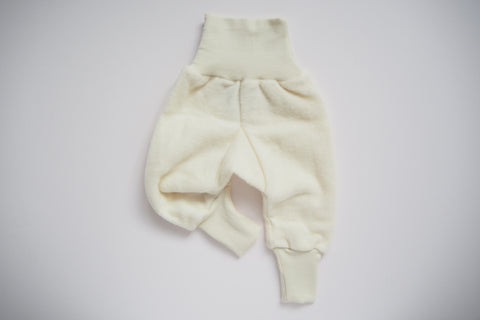 Baby Pants - Wool & Organic Cotton Fleece - Natural - 0/3m to 3/6m - By Cosilana
