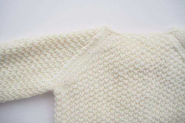'Cocoon' cardigan - Milk - Newborn to 6/12m