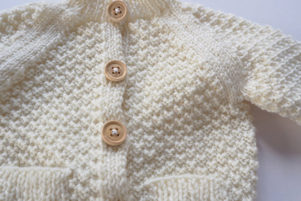 'Simone' Cardigan - Milk - Newborn to 12m