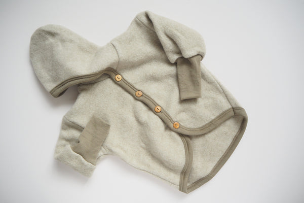 Baby Jacket - Wool & Organic Cotton Fleece - Latte - 0/3m to 3/6m - By Cosilana
