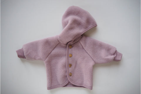 Baby Jacket - Organic Merino Wool Fleece - Rosewood - 0/3m to 6-12m - By Engel