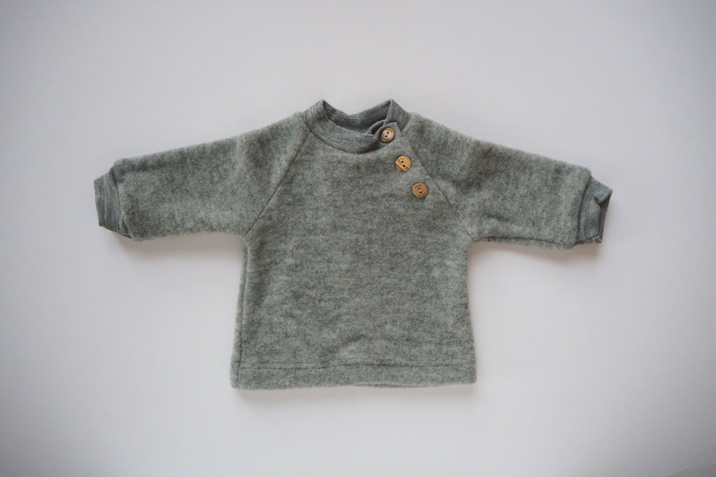 Sweater - Organic Merino Wool Fleece - Grey - 0/3m & 6/12m - By Engel