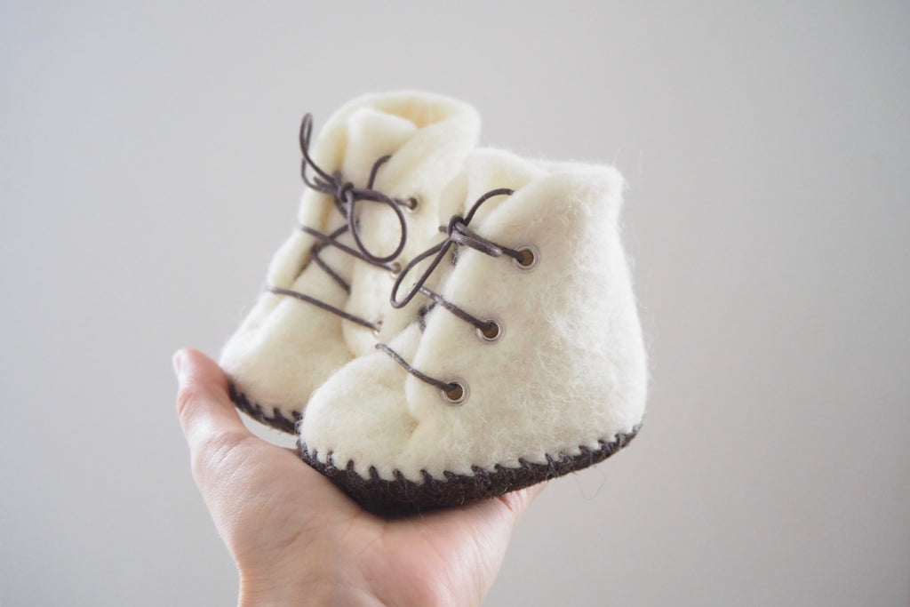 'Lottie' booties by the brand Filzling - White - 0/3m to 12/18m