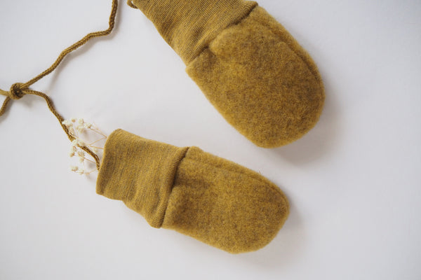 Baby mittens - Merino Wool Fleece - Saffron Melange - 0-12m - By Engel