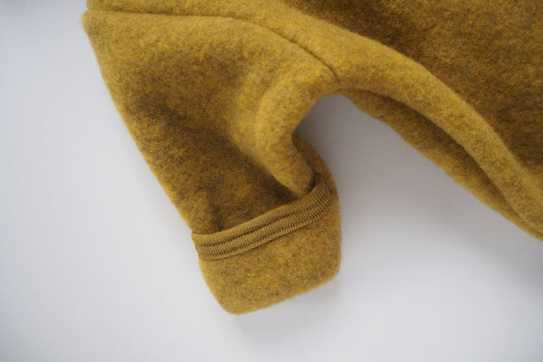 Baby suit with fold-over feet and mittens - Organic Merino Wool Fleece - Saffron Melange -0/3m to 6/12m - By Engel
