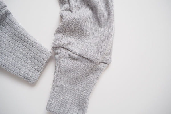 Leggings in organic cotton, silk and wool - Silver - 0/3m to 9/12m - By Cosilana