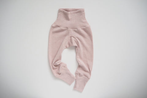 Leggings in organic cotton, silk and wool - Rose - 0/3m to 9/12m - By Cosilana