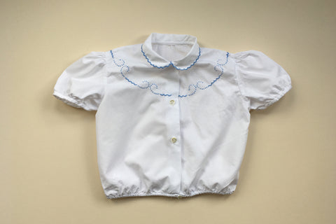 Blouse with scallop hand embroidery - 3/4y