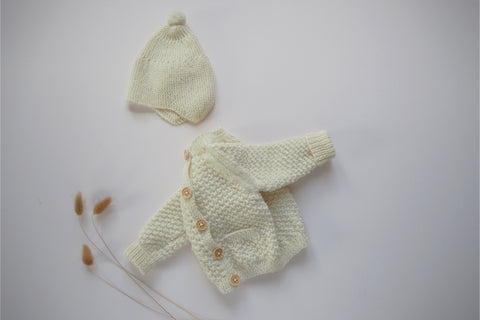 'Simone' Cardigan - Milk - Newborn - Made to order up to 3y