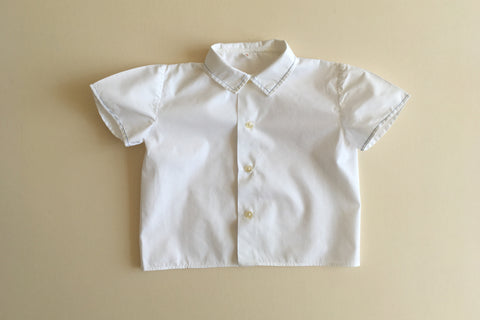 White shirt with blue trim - 2y