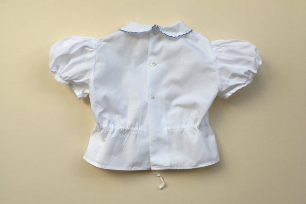 White blouse with openworks and blue flowers embroidery - 6m