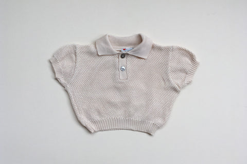 Beige jumper with short sleeves - 6/12m