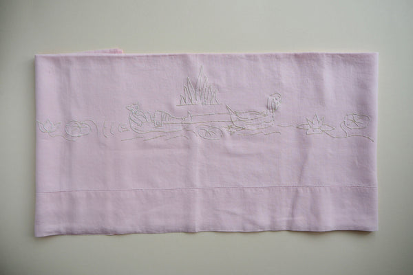 Light pink hand embroidered flat sheet