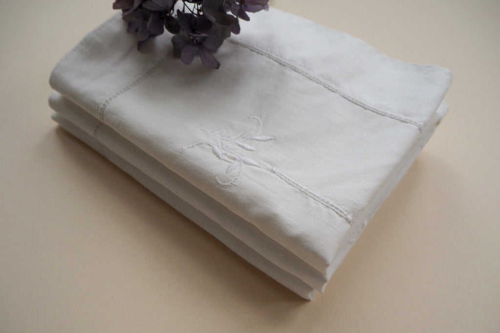 White hand embroidered pillowcase