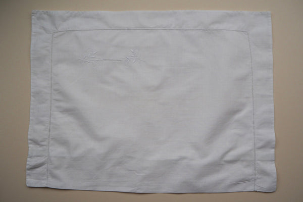 White hand embroidered pillow case