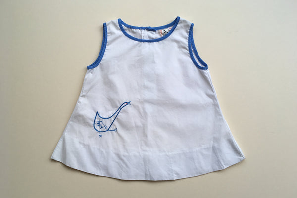 Dress with goose hand embroidered - 3/6m