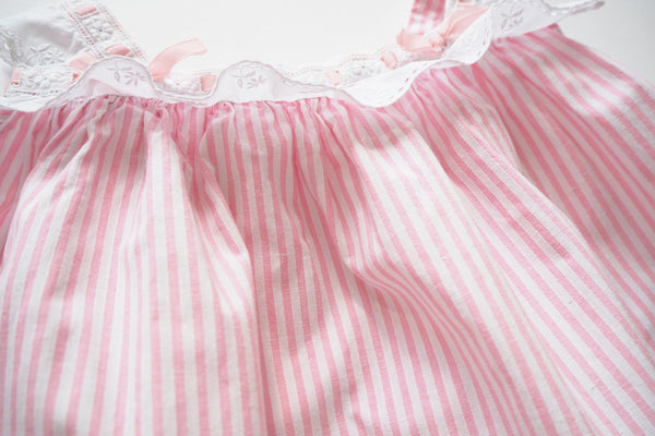 Pink and white stripy dress - 12m