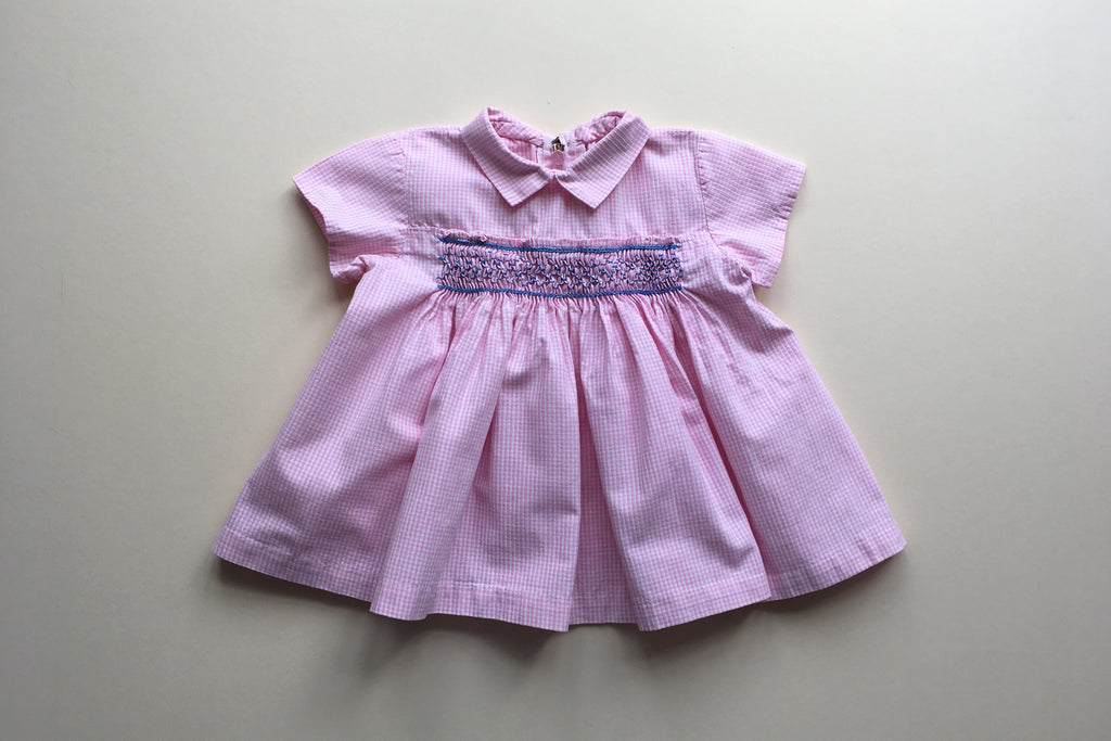 Pink gingham dress with smocks - 0-3m - 50% off