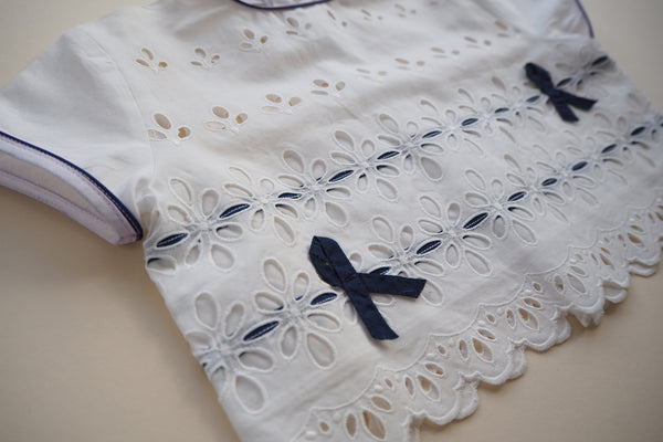 Blouse with two navy bows - 18m - 40% off