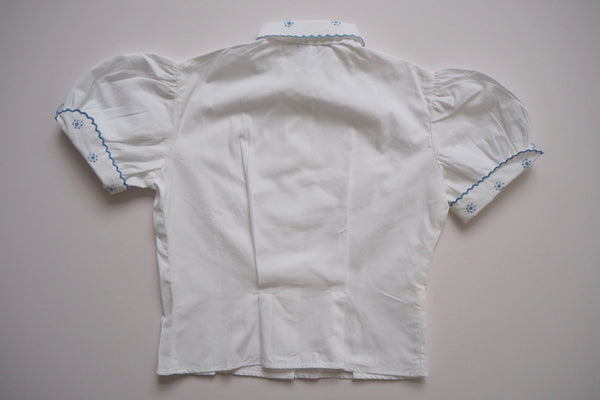 White shirt with blue embroidery - 6y