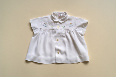 White blouse with Hand-embroidery - 18m