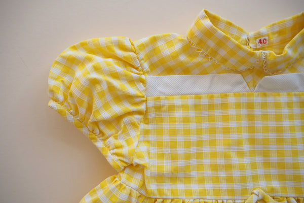 Yellow gingham dress -12m
