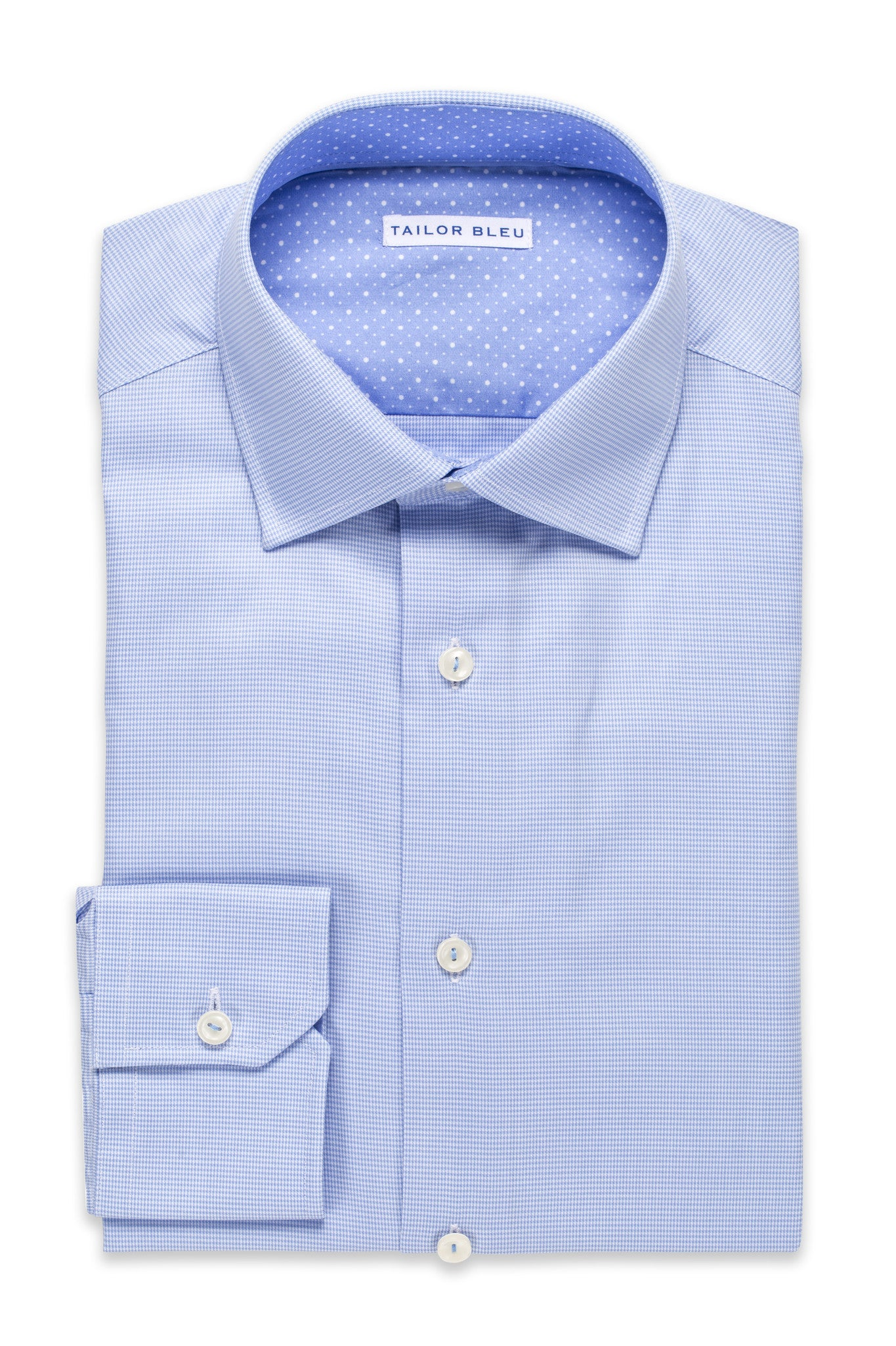 Mini-Houndstooth Shirt - Spread Collar- Light Blue
