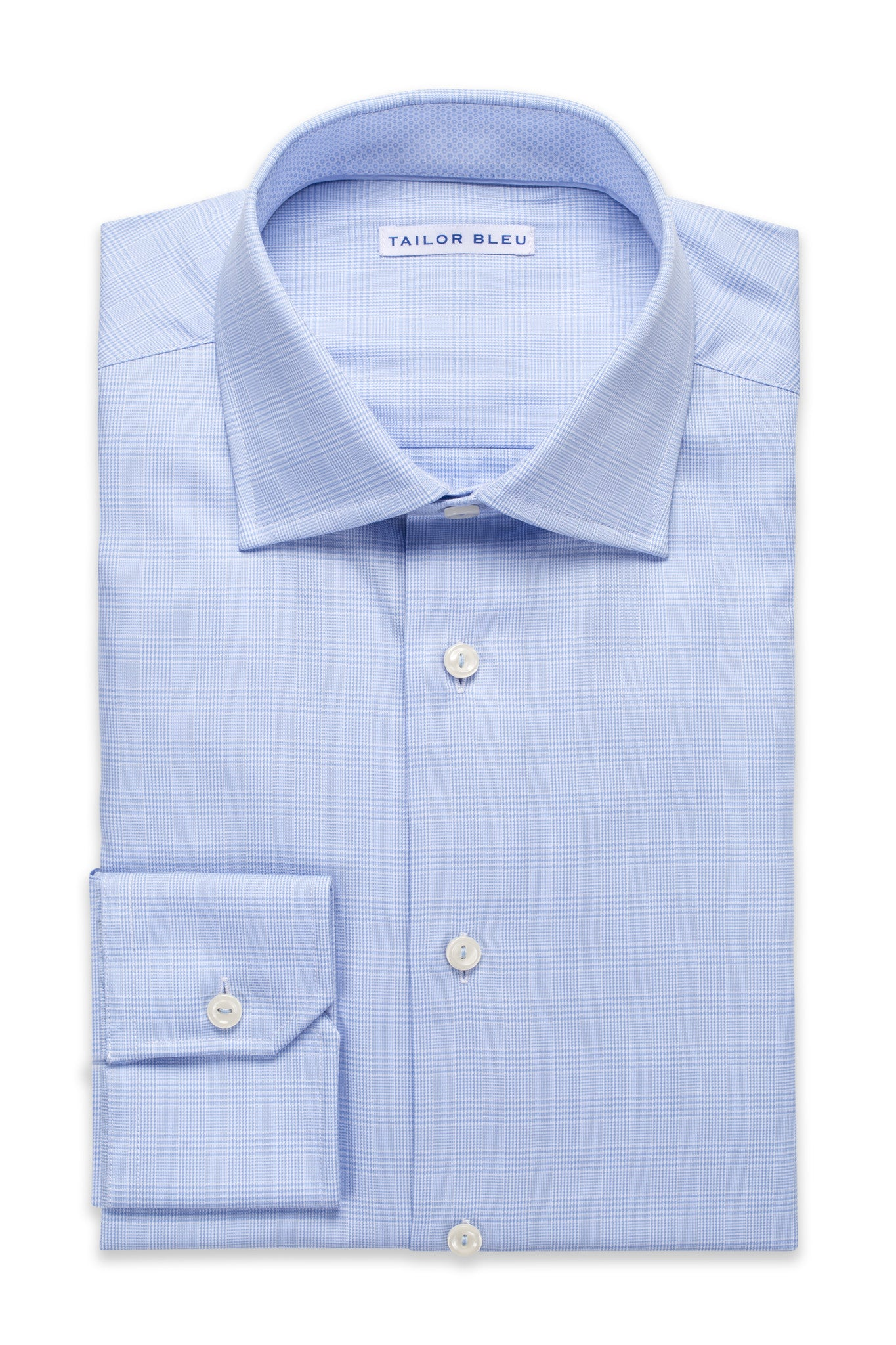 Houndstooth Plaid Shirt - Round Spread Collar- Light Blue