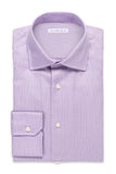 Houndstooth Plaid Shirt - Round Spread Collar- Light Purple