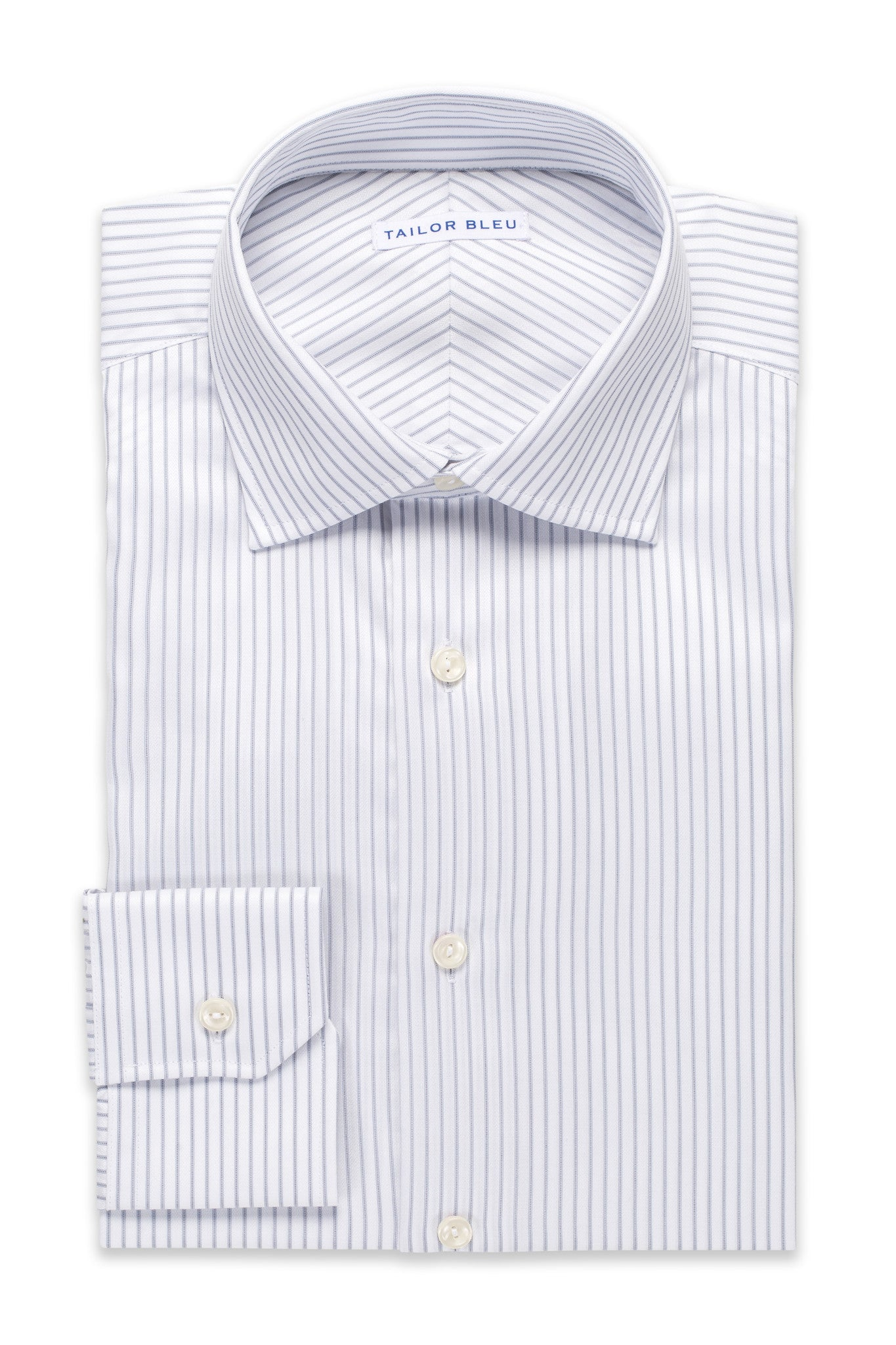 Wide Pinstripe Shirt - Round Spread Collar- Light Gray
