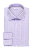 Mini-Plaid Shirt - Round Spread Collar- Light Purple