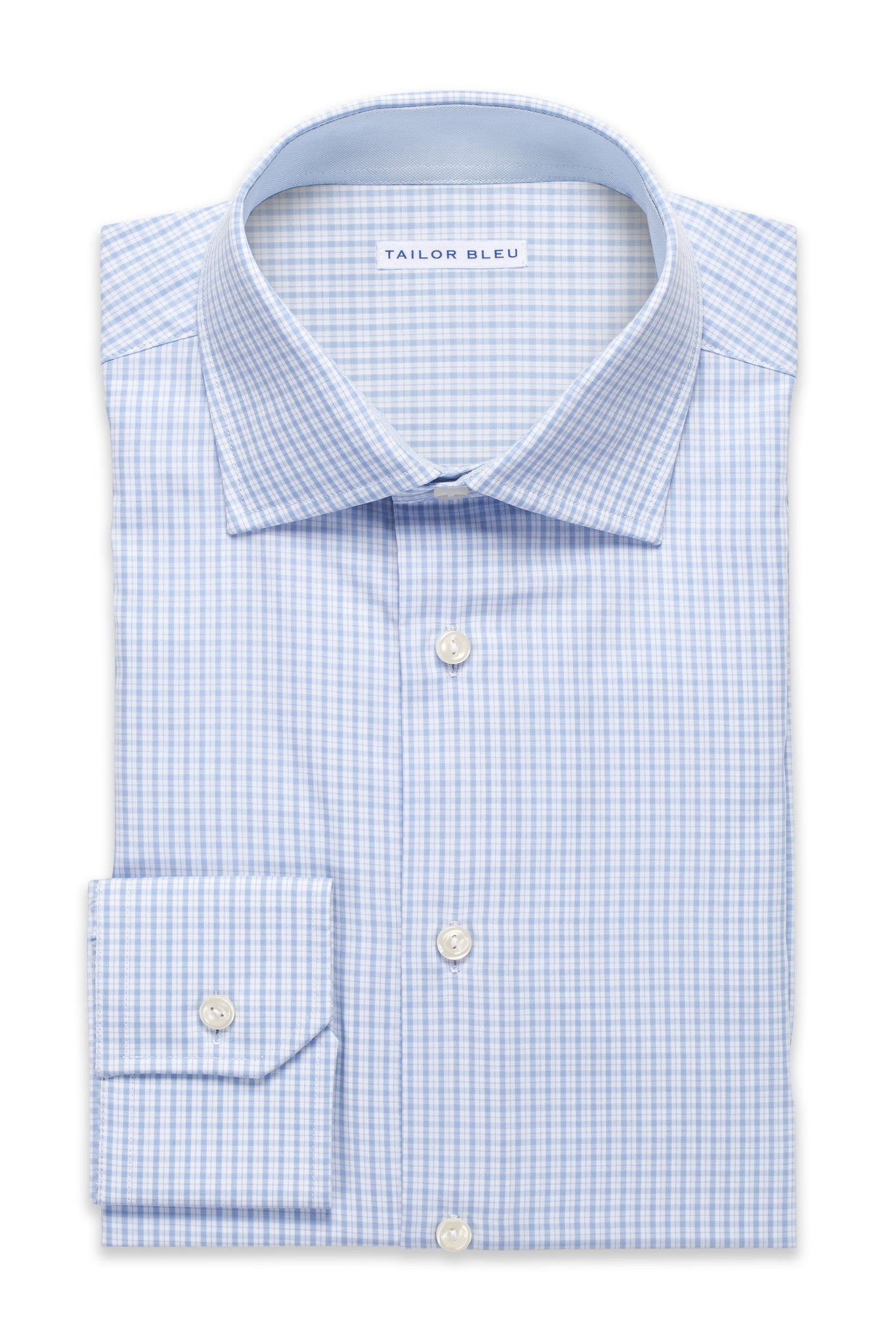 Mini-Plaid Shirt - Round Spread Collar- Light Blue