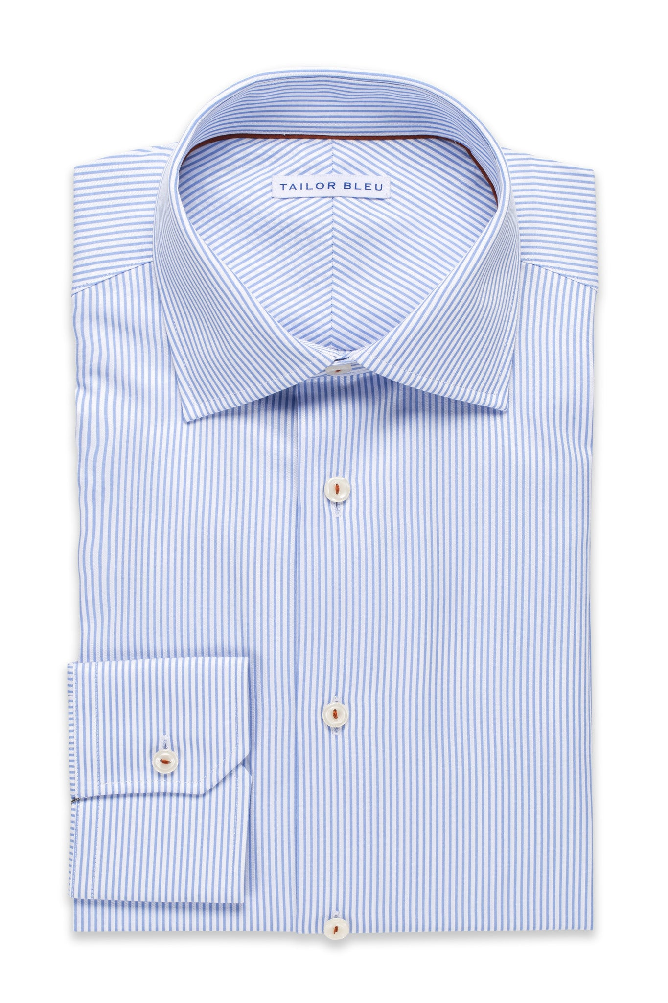 Narrow Pinstripe Shirt - Round Spread Collar- Light Blue