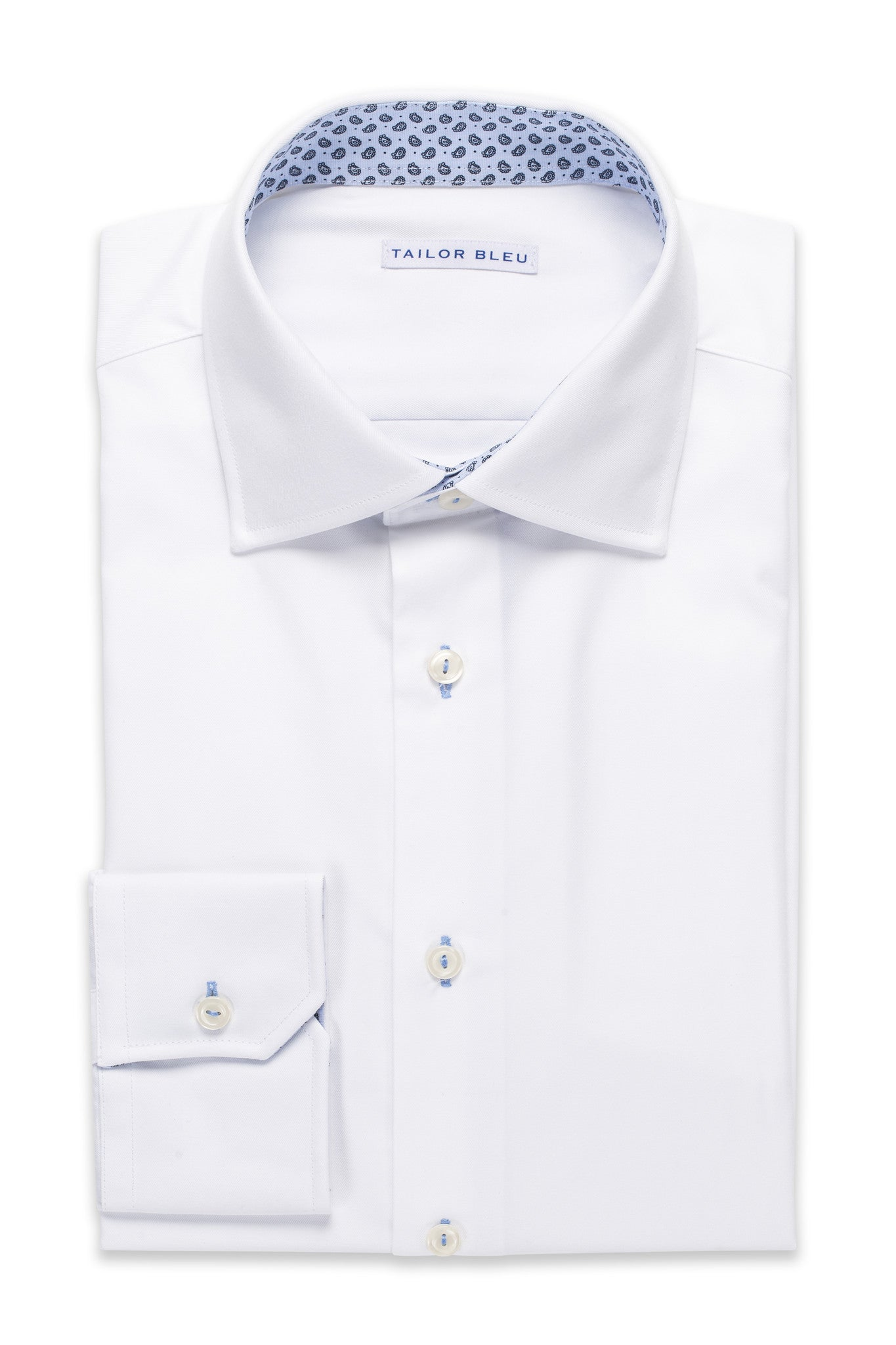 White Twill Shirt - Round Spread Collar