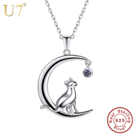 U7 Authentic 100% 925 Sterling Silver Cat Moon Necklace Meditation Women Jewelry Silver 925 Chain & Pendant Valentine Gift SC17