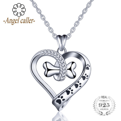 Angel Caller 925 Sterling Silver lovely Dog and Cat Footprint Necklace Bone Heart Pendant Necklaces Women Fine Jewelry CYD105