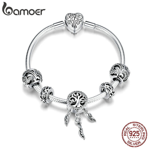 BAMOER Hot Sale 925 Sterling Silver Dream Catcher Forest Tree Leaves Charm Bracelets for Women Sterling Silver Jewelry SCB814