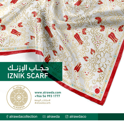حجاب الإزنك أحمر - Iznic Scarf Red