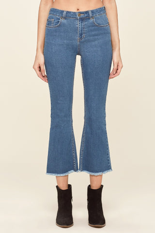 Amuse Society Coastline High Waist Cropped Flares - Blue | Almasty Outdoor Co.