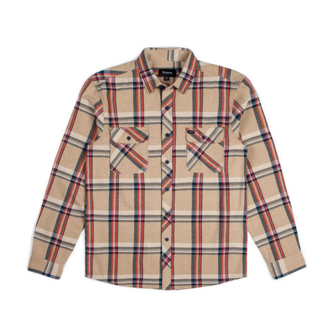 Brixton Bowery L/S Flannel Shirt- Tan Plaid | Almasty Outdoor Co.