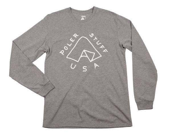 Tent Men's Long Sleeve T-Shirt  - Gray Heather | T-shirt à manches longues pour hommes Tent - Gris - Almasty Outdoor Co.