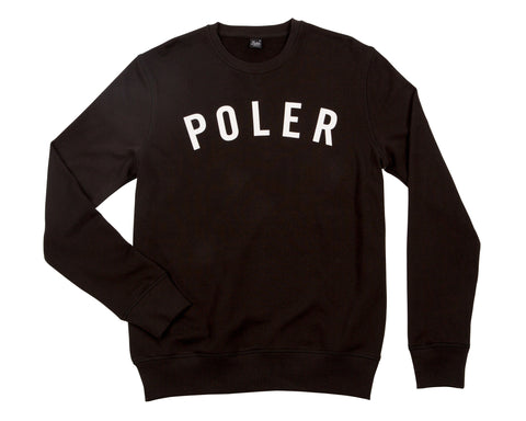 Poler Stuff Men's State Crew Fleece Sweatshirt- Black |  Almasty Outdoor Co.