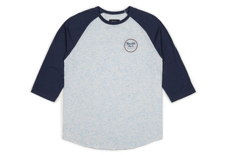 Brixton Men's Wheeler 3/4 Sleeve Tee - Heather Blue/Navy