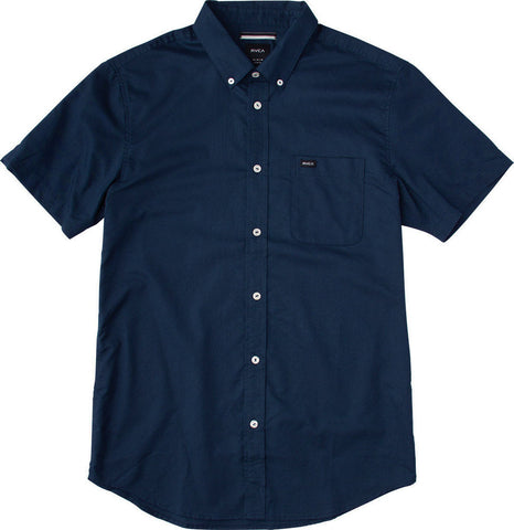 RVCA Men's That'll Do Oxford  S/S Wovens Shirt - Federal Blue | Almasty Outdoor Co.