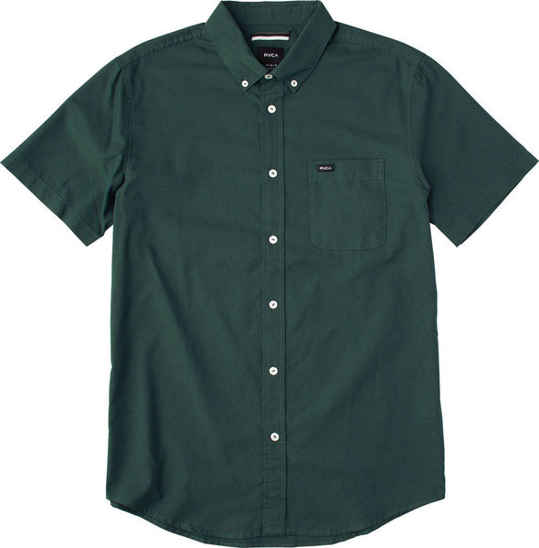 "RVCA - Men's That'll Do Oxford  S/S Wovens Shirt - Sequoia Green | Chemise à manches courtes pour hommes ""That'll Do Oxford""  - Vert 