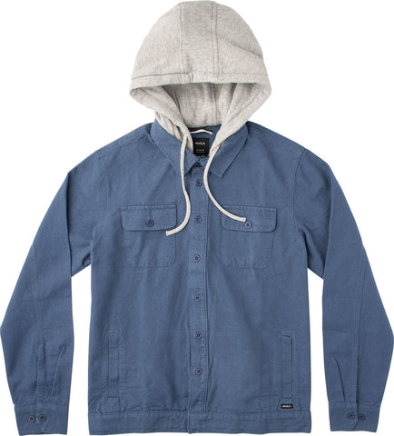 RVCA Men's Step Down  L/S Hooded Shirt - Inmate Blue | Almasty Outdoor Co.