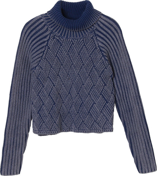 "Women's Mate Check Knit - Ink | Tricot pour femmes ""Mate Check"" - Bleu - Almasty Outdoor Co."