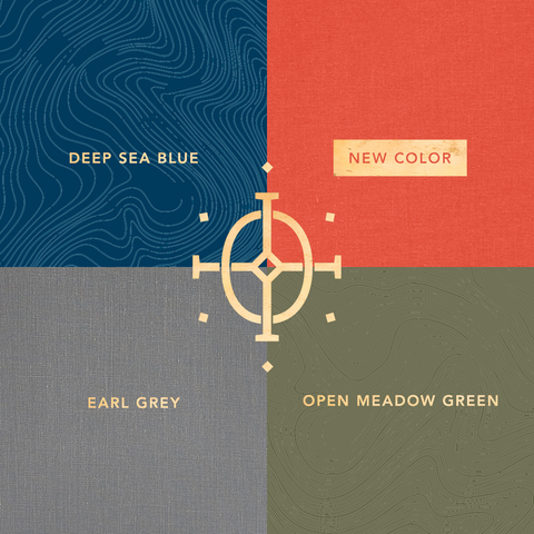 four cover options | printed covers in deep sea blue and open meadow green | book cloth covers in earl grey and a new red