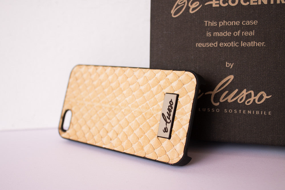 iPhone 5-5S-SE Grass Snake Leather - Colore Beige BC0028