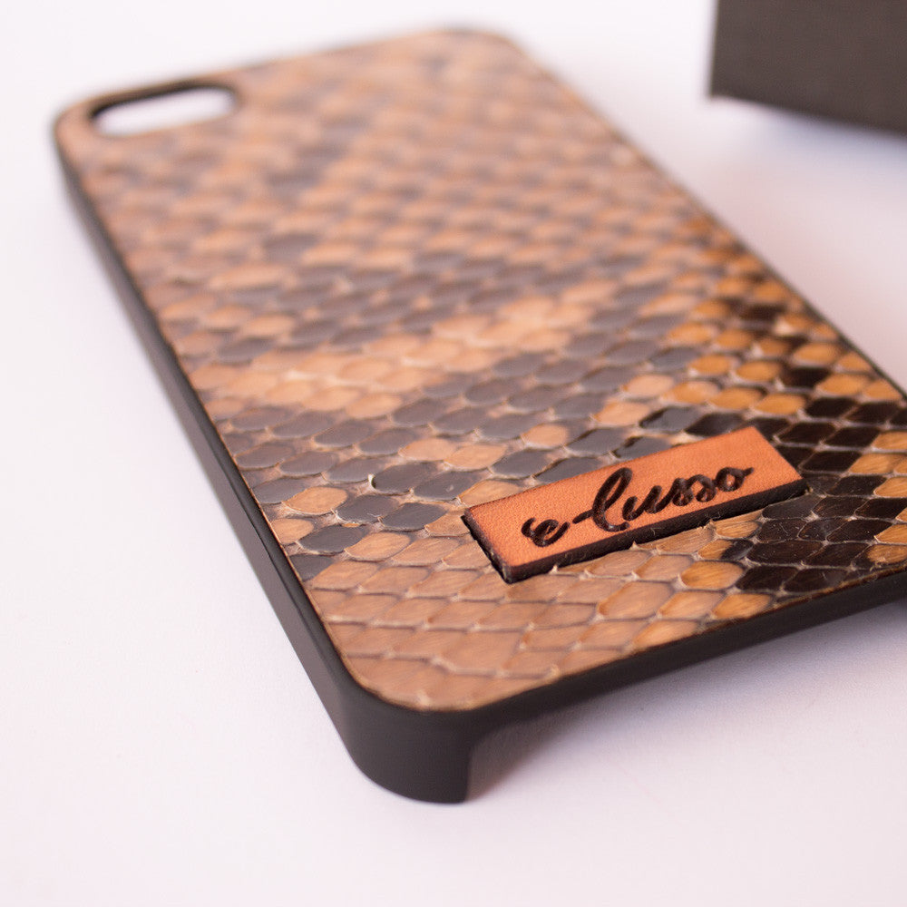 iPhone 5-5S-SE Snake Leather - Colore Beige-Marrone